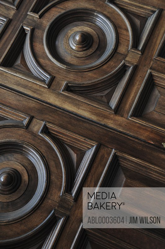 Close up of Ornate Wood Panelling, Full Frame
