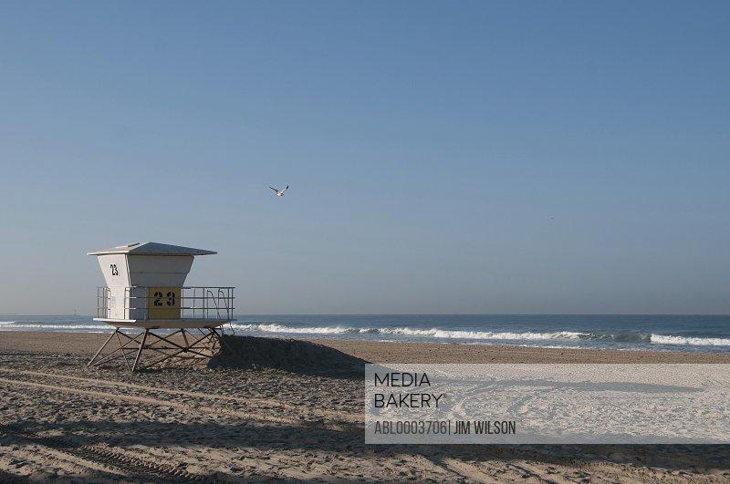 Lifeguard Station on Empty Beach, San Diego, California