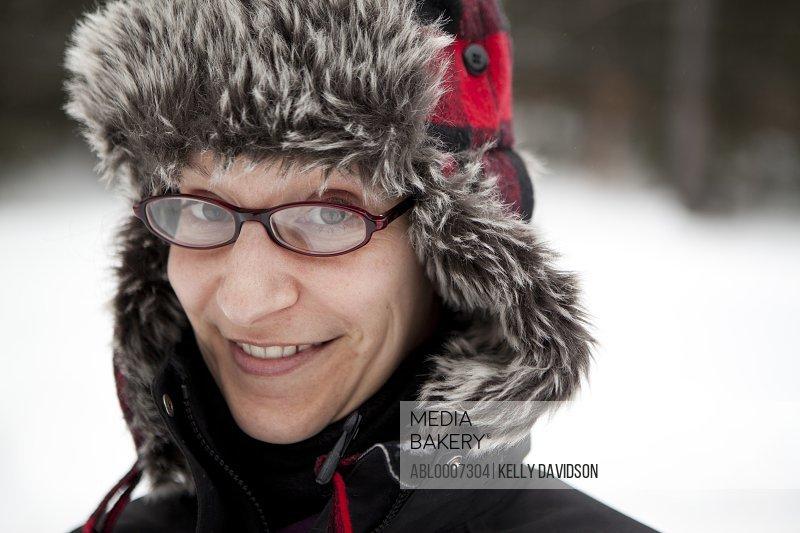 Smiling Woman Wearing Furry Hat