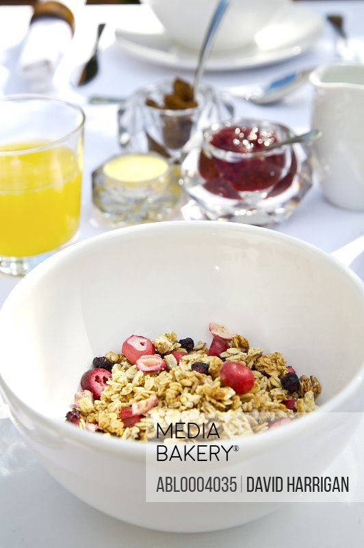 Close up of cereal bowl with muesli and granola