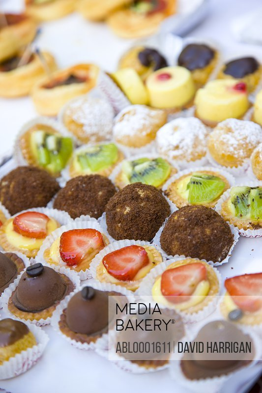 Close up of assorted mini cakes