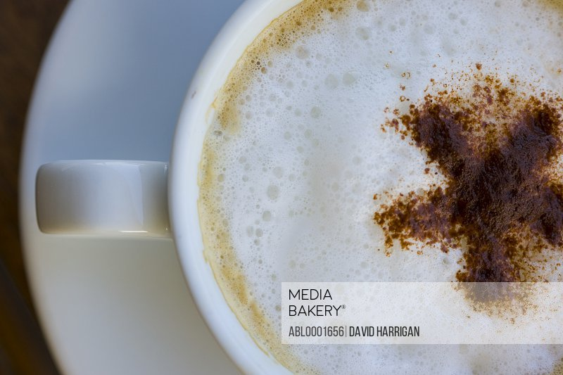 Extreme close up of a cup of cappuccino - high angle