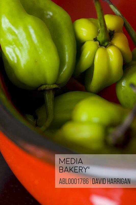 Close up of green scotch bonnet peppers
