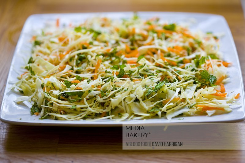 White cabbage, carrot and mint salad