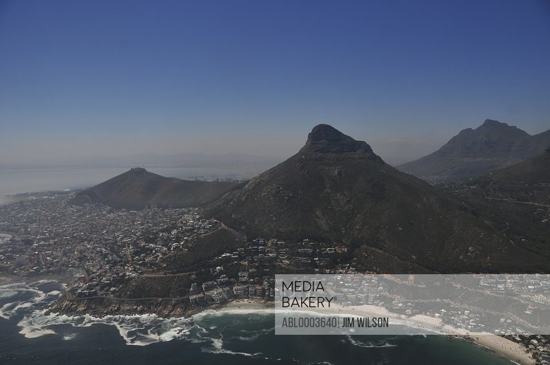 Aerial View of Lion's Head Mountain and Cityscape, Cape Town, South Africa