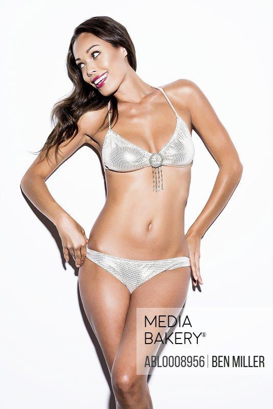Woman Wearing Silver Bikini