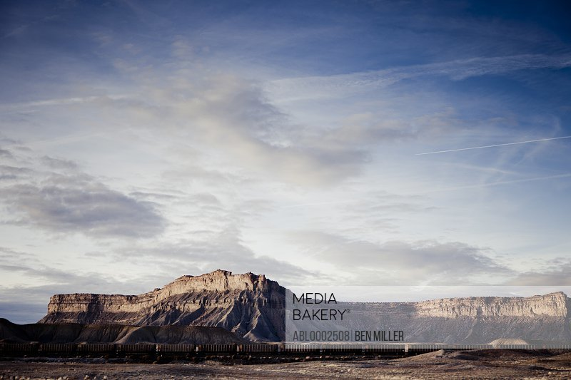 Mountain Landscape and Freight Train