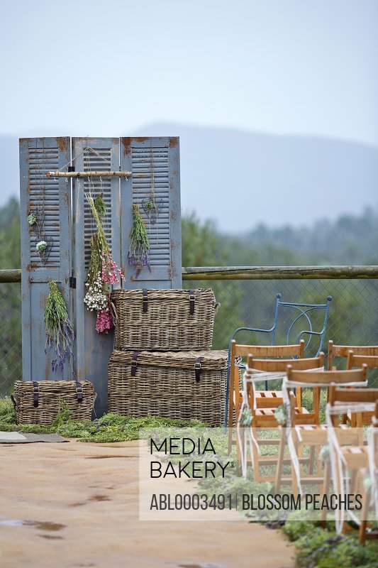 Decorations and Chairs at Outdoor Wedding Ceremony