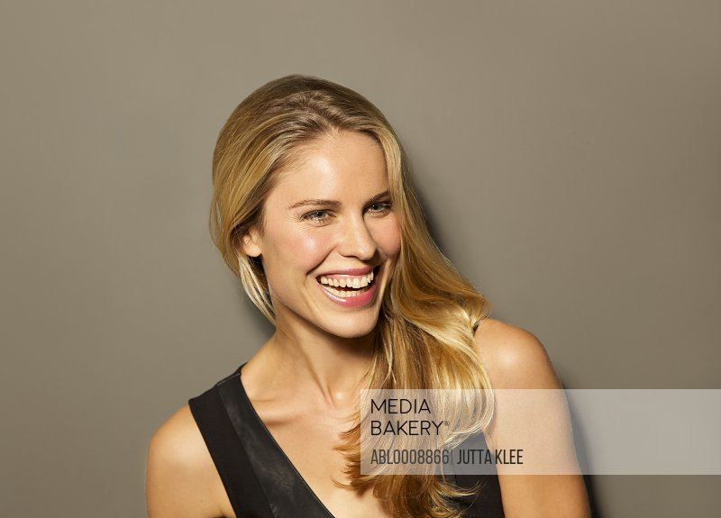 Attractive Blonde Woman Smiling