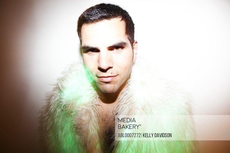Man Wearing Fake Fur