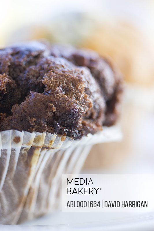 Extreme close up of a chocolate muffin