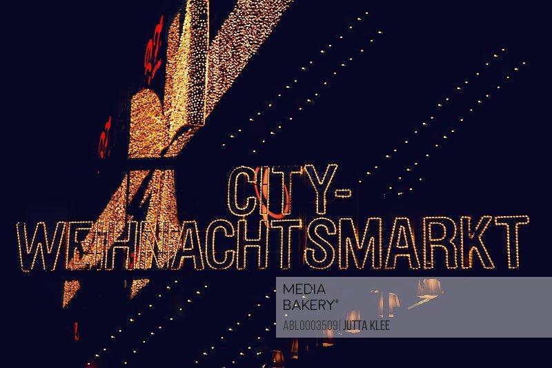 Illuminated Christmas Market Sign, Berlin, Germany