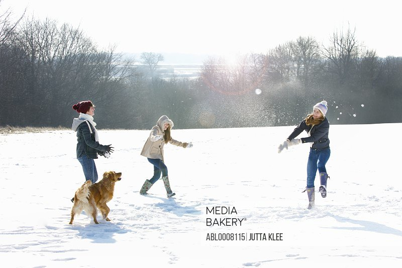 Teenage Girls and Dog in Snowball Fight