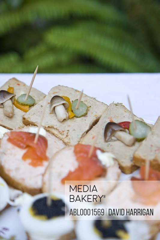 Close up of assorted open sandwiches