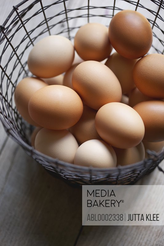 Eggs in a Wire Basket - High angle view