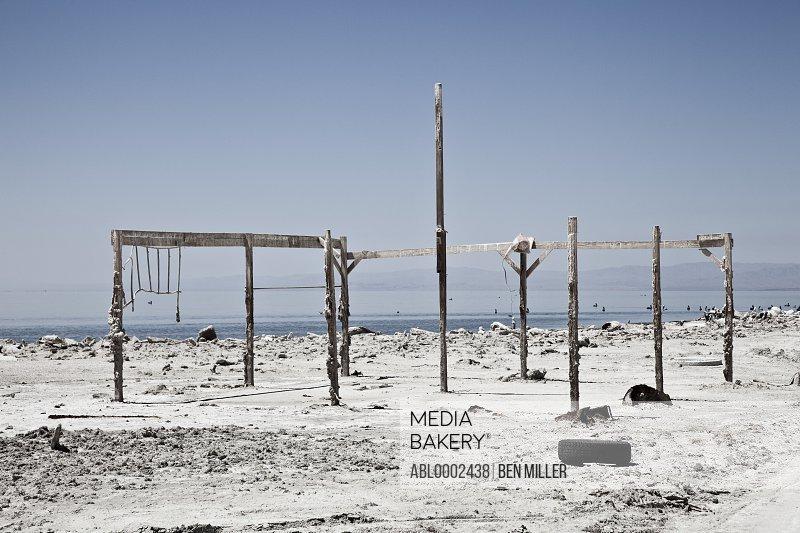 Salt Encrusted Wood Poles by Lakeshore