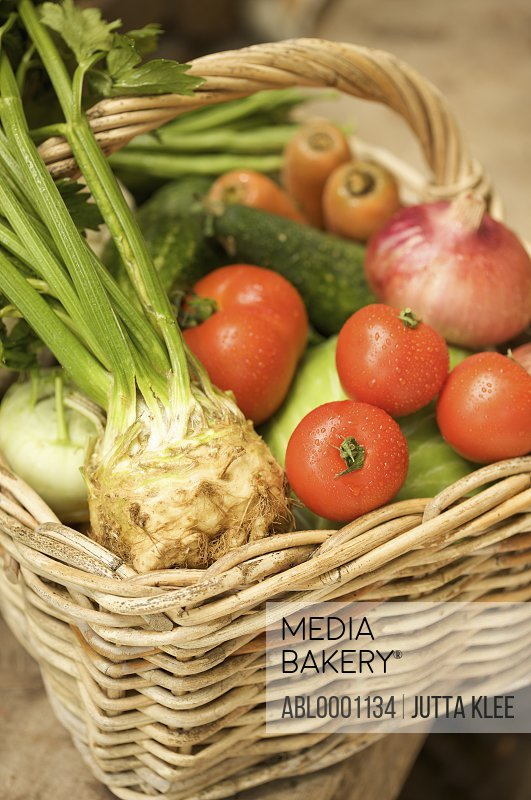 Close up of wicker basket filled with mixed vegetables