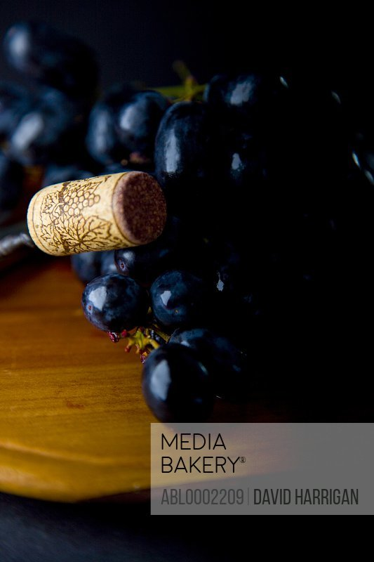 Black Wine Grapes and Wine Cork