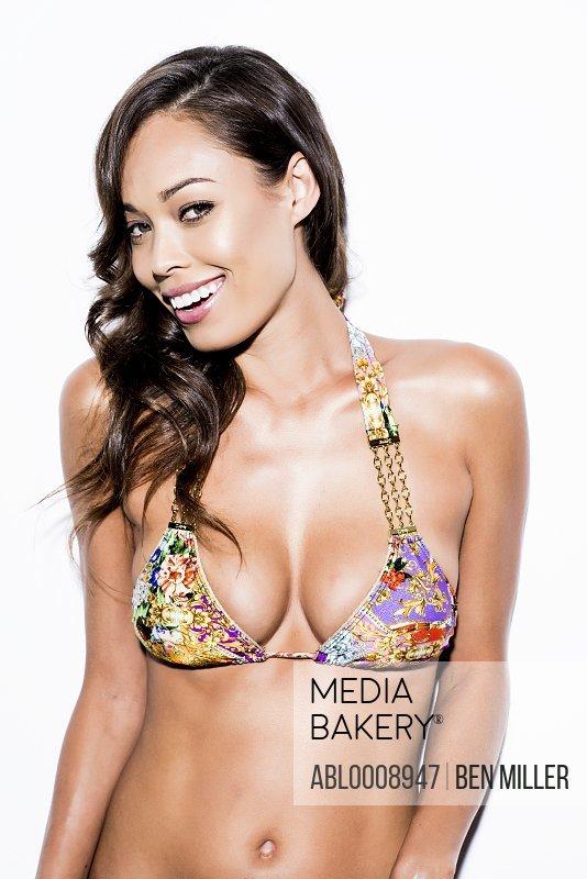 Smiling Woman Wearing Bikini Top