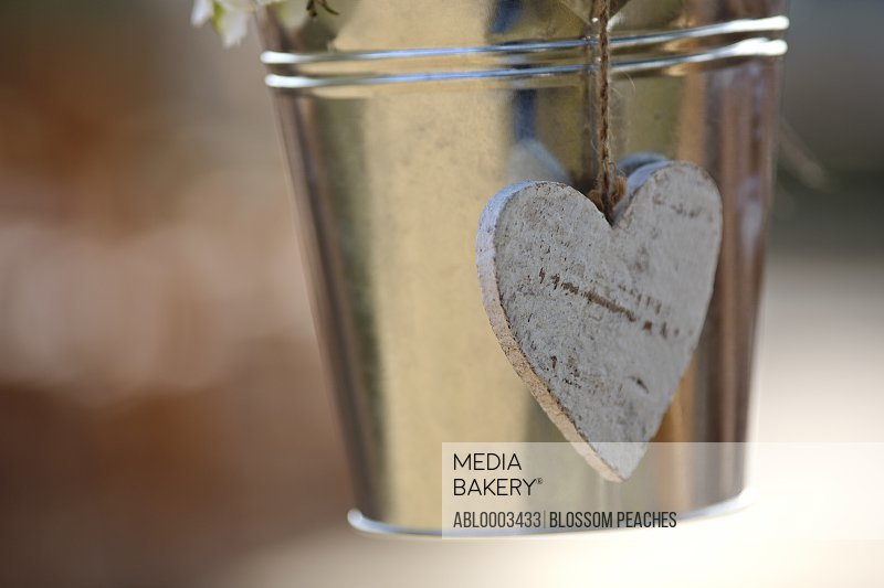 Heart Shaped Decoration Hanging from Metal Bucket