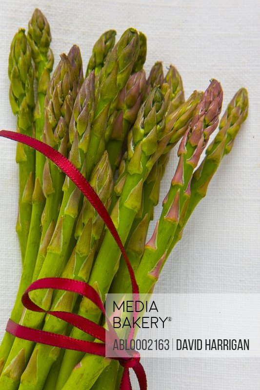 Bundle of Asparagus Tied up with Red Ribbon