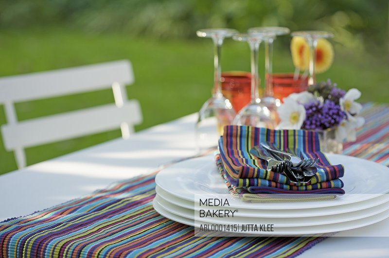Close up of tableware on a garden table