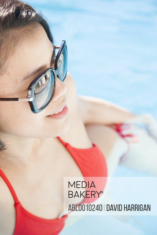Profile of Woman in Swimming Pool