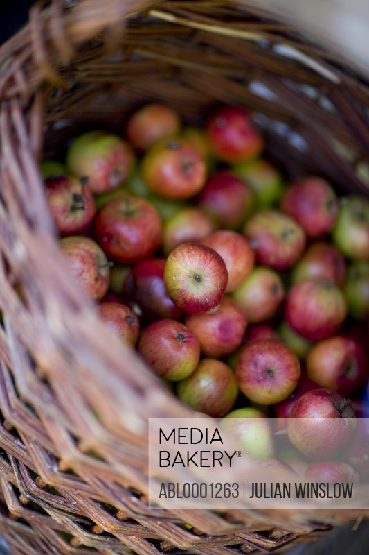 Close up of a wicker basket filled with apples