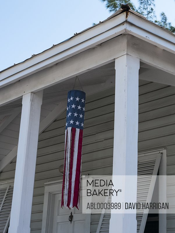 House with American Flag on Porch