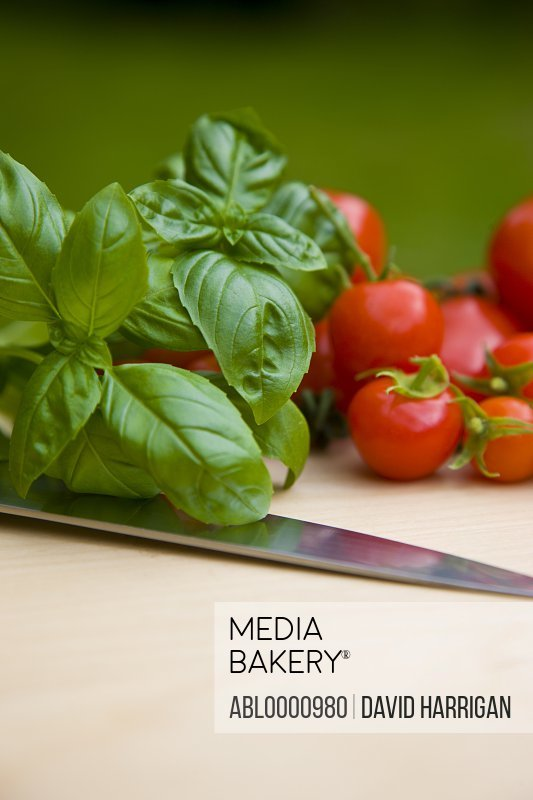 Close up of cherry tomatoes basil leaves and a knife blade