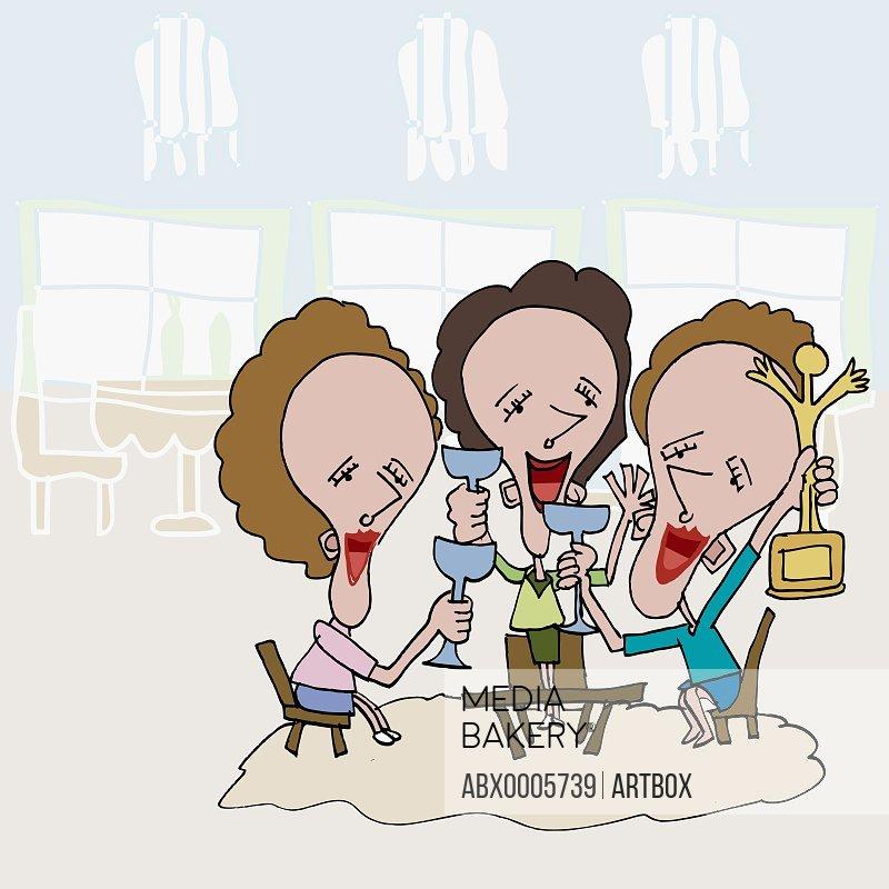 Three businesswomen holding wine glasses