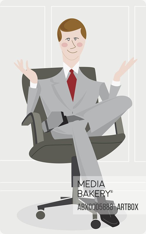 Businessman sitting in an office chair and gesturing
