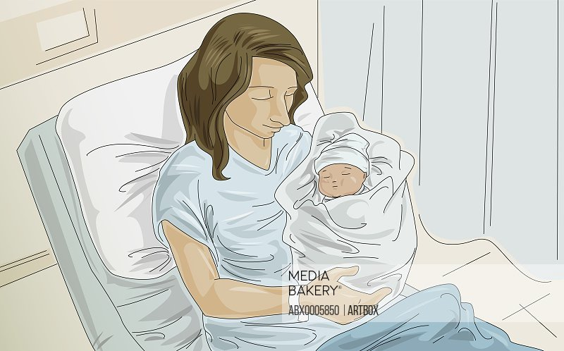 Woman holding her baby in the hospital
