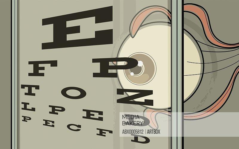 Close-up of an eye chart