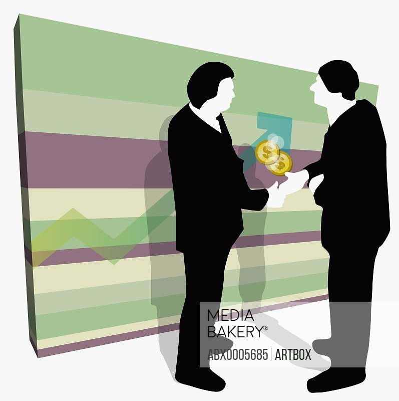 Businessmen shaking hands in front of line graph