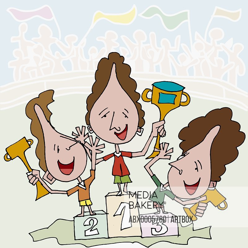 Three women holding trophies on a podium