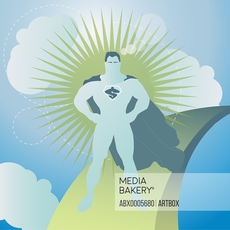 Superhero standing in the sky