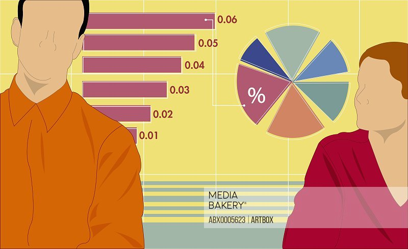 Businessman and businesswoman with graphs
