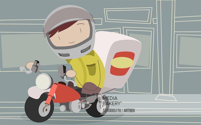 Pizza delivery person riding a motorcycle