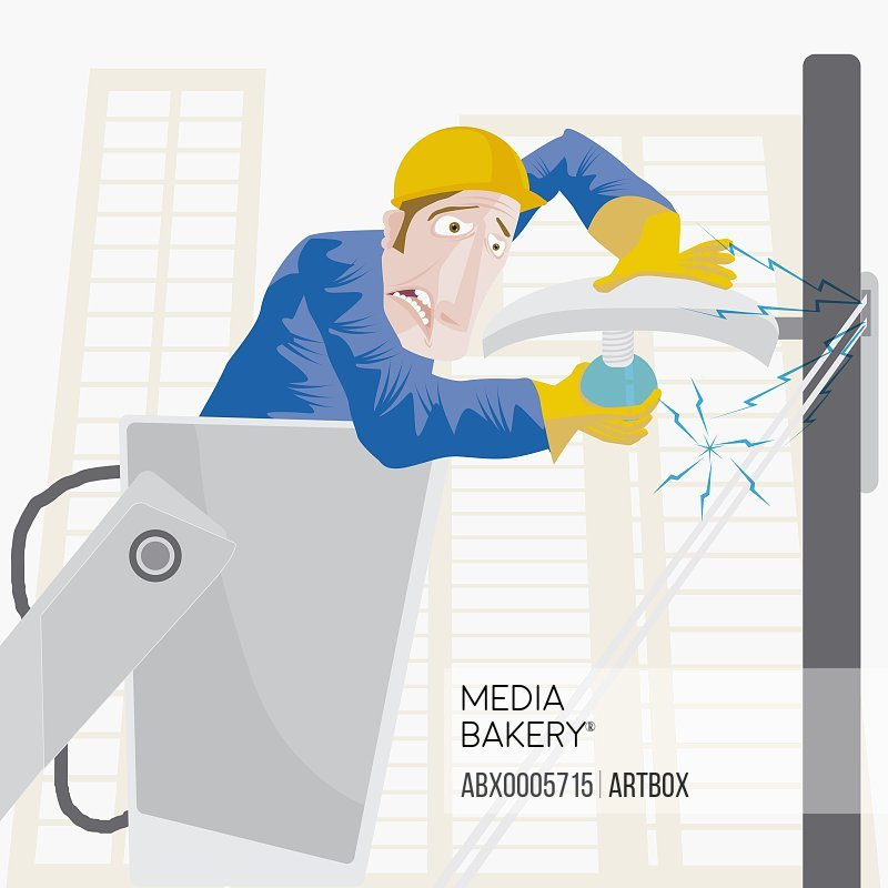 Close-up of an electrician getting an electric shock
