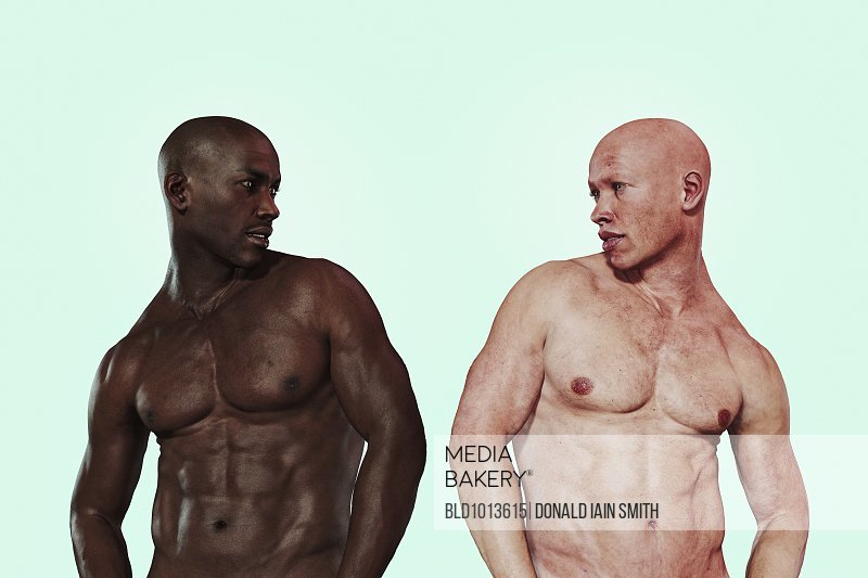 Similar men with different skin colors