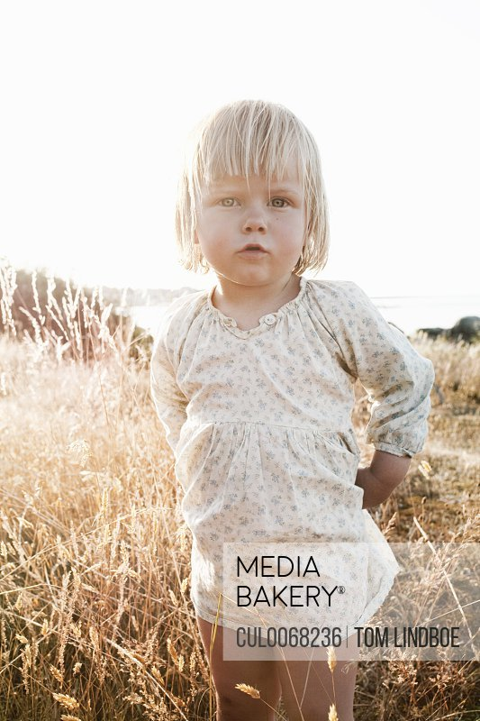 Toddler girl standing in wheatfield