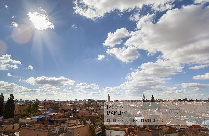 Marrakesh cityscape clouds