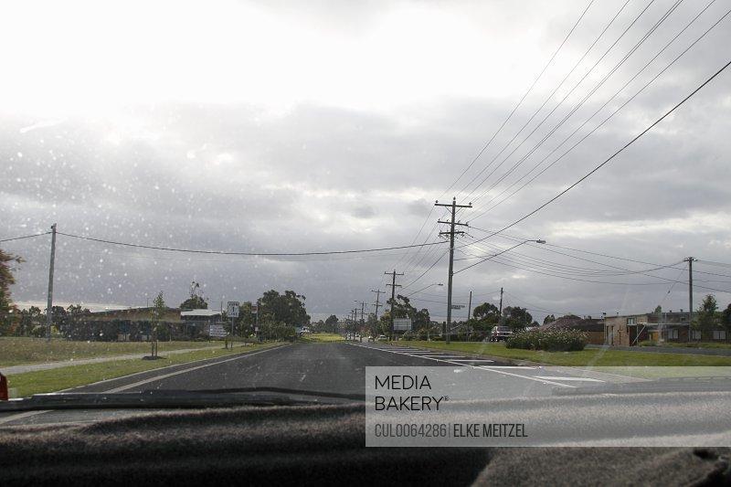 Rain on car windshield