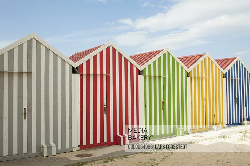 Colorful huts on beach