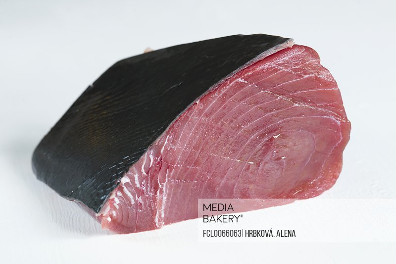 Fresh tuna fillet with skin