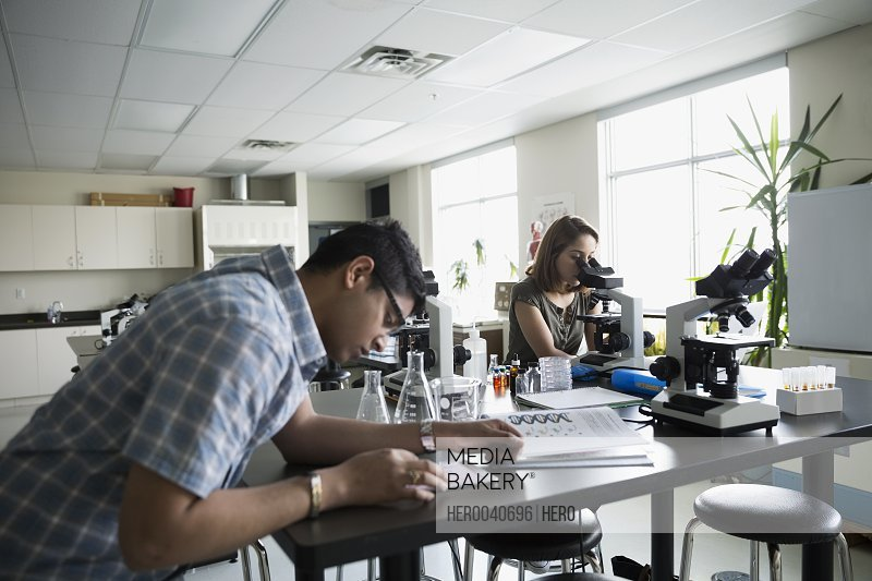 College students conducting scientific experiment in science laboratory
