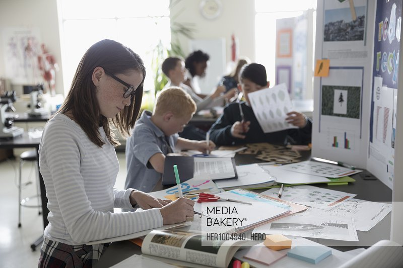 Middle school students working on science project in laboratory