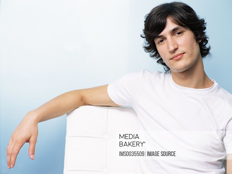 Young man in a white t-shirt