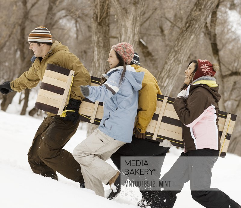 Four young people carrying a wooden sledge across the snow
